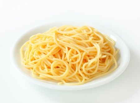 Studio shot of boiled spaghetti on plate