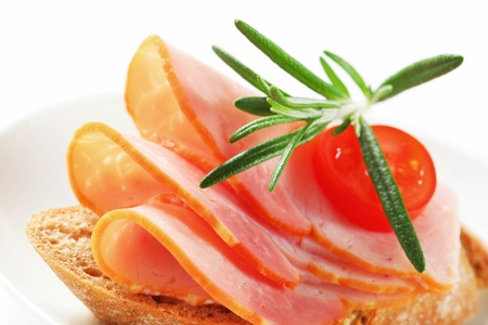thinly: Bread with thinly sliced ham