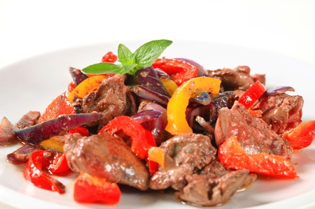 Chicken liver and bell pepper stir fry Stock Photo - 18700038