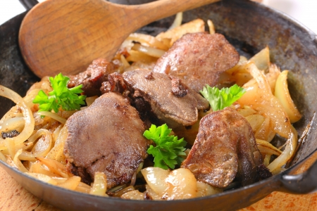 offal: Pan fried chicken liver and onions