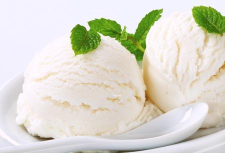 Scoops of white creamy ice cream  photo