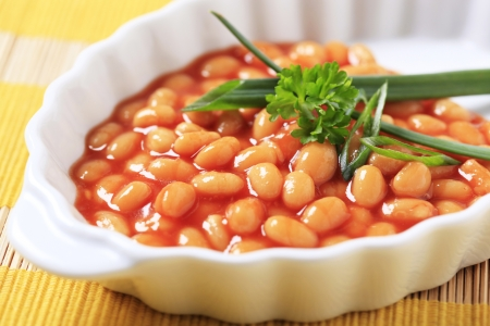 Baked beans in a porcelain casserole dish