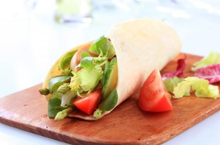corn tortilla: Corn tortilla filled with fresh vegetable salad  Stock Photo