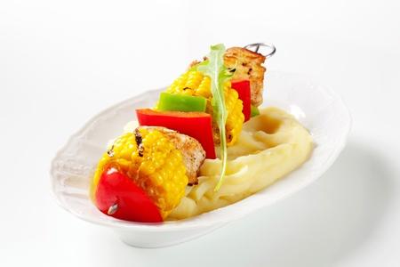 shish kebab: Shish kebab and mashed potato - detail Stock Photo