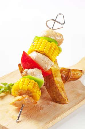 shish kebab: Shish kebab and potato wedges - detail