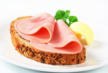 Whole wheat bread and ham photo