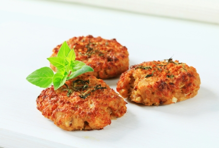 Fried vegetable burgers on white photo