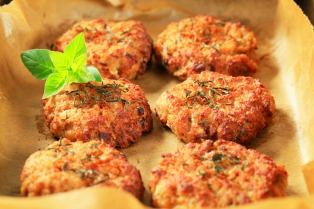 fiber food: Fried vegetable burgers on baking parchment paper