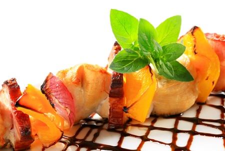 Chicken shish kebab with balsamic vinegar