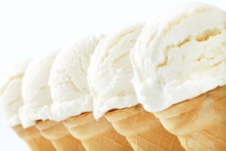 Studio shot of white ice cream cones photo