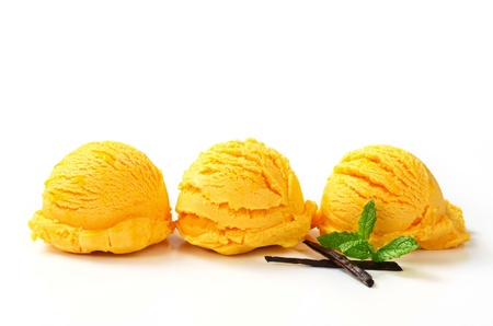Three scoops of yellow ice cream arranged in a row photo