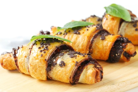 Chocolate-filled croissants on plate