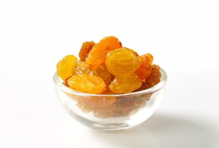 sultana: Sultana raisins in a small glass bowl Stock Photo