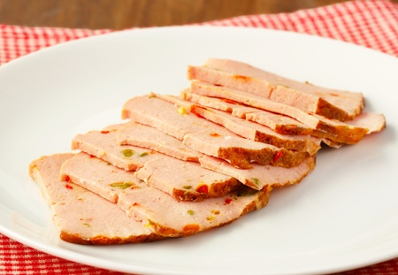 Thinly sliced German style meatloaf Stock Photo - 20535841