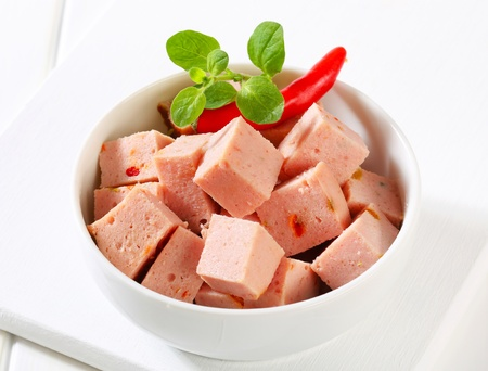 meatloaf: Diced meatloaf in a bowl  Stock Photo
