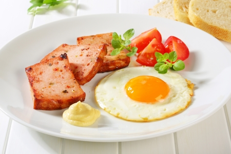 Pan-fried meatloaf with sunny side up fried egg and mustard Stock Photo - 20536143