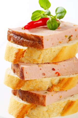 Slices of spicy meat loaf on crispy bread roll Stock Photo - 20536167