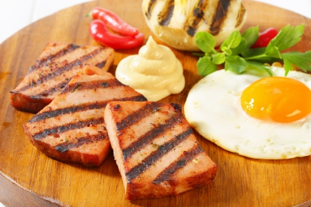 Grilled meatloaf with sunny side up fried egg and mustard Stock Photo - 20536168