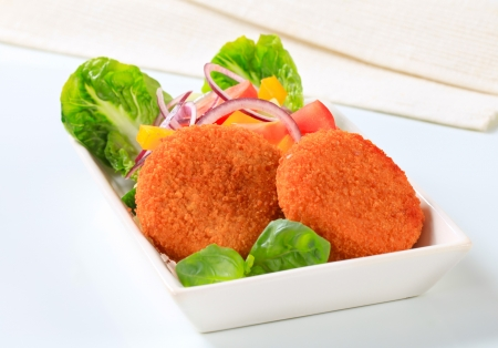 patty cake: Fried cheese or fish cakes with fresh vegetable salad