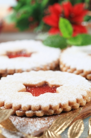 Christmas shortbread cookies with jam filling photo