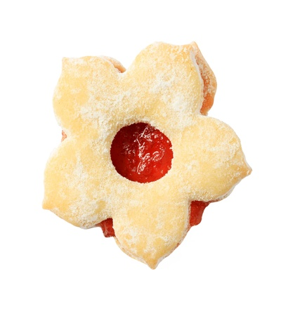 Flower shaped jam biscuit - cut out on white Stock Photo - 21055357