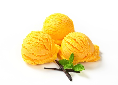 Three scoops of yellow ice cream photo