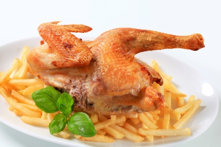 Crispy skin roast chicken with French fries photo