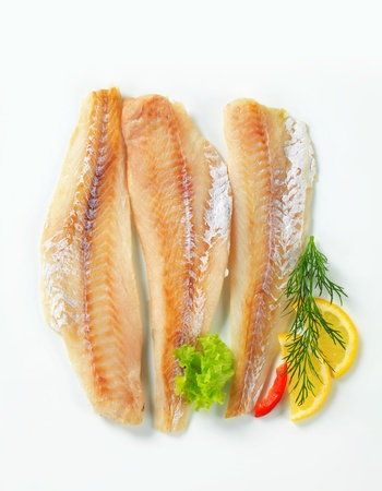 Studio shot of whitefish fillets Standard-Bild