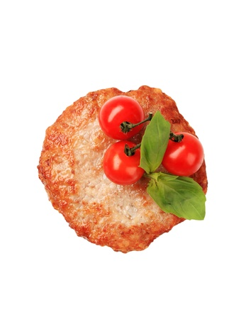 pan fried: Pan fritto di pollo patty - girato in studio Archivio Fotografico