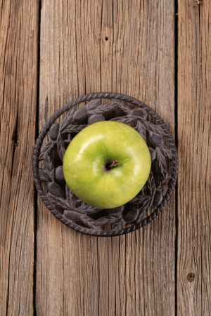 granny smith: Granny Smith green apple on wooden table