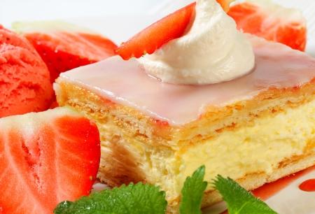 custard slices: Custard (Vanilla) Slice with fresh strawberries and ice cream