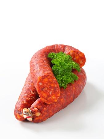 dry sausage: Spicy dry sausage - studio shot