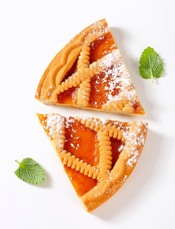 overhead: Slices of Linzer apricot tart Stock Photo