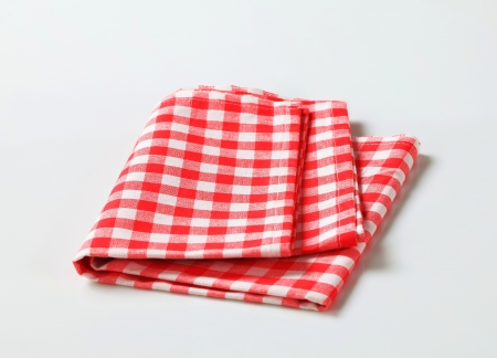 Checked red and white table linen