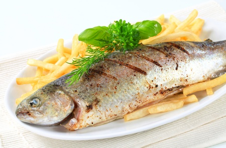 Dish of grilled trout and French fries photo