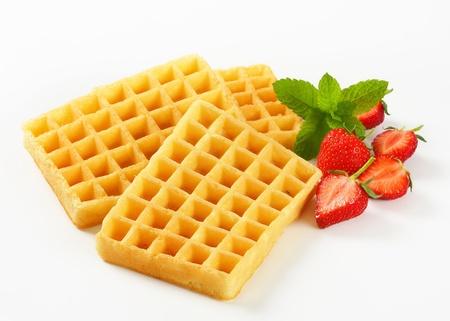 Studio shot of Belgian waffles photo