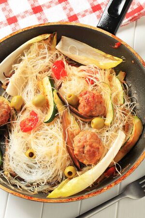 cellophane: Dish of meatballs with cellophane noodles and vegetables Stock Photo