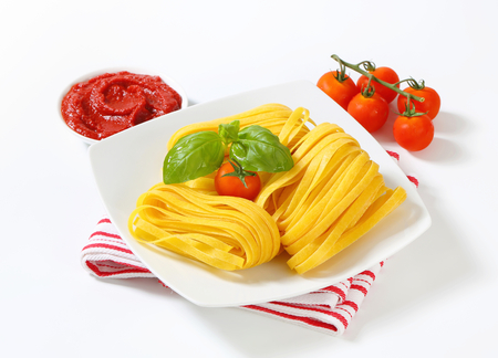 ribbon pasta: Thin ribbon pasta and tomato paste