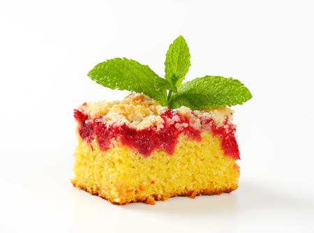 Piece of raspberry crumb cake photo