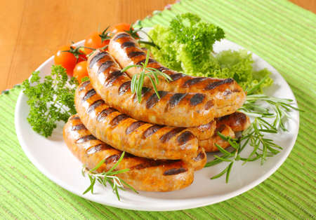 Pile of grilled German sausages Stock Photo - 22893612