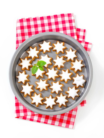 christmas cake: Cinnamon star cookies glazed with frosting