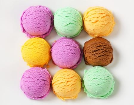 Scoops of ice cream - assorted flavors