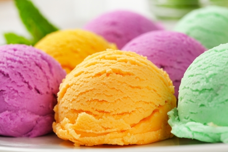 Scoops of ice cream - assorted flavors photo
