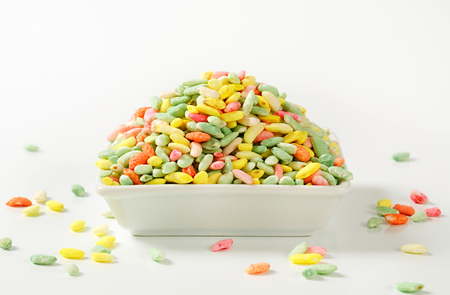 puffed: Sugar coated colored puffed rice Stock Photo