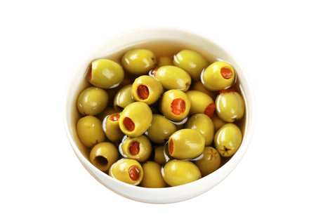 pimento: Bowl of green olives stuffed with pimento