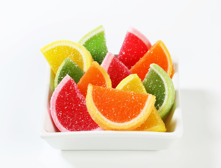 Fruit-flavored gelatin candy coated with sugar photo