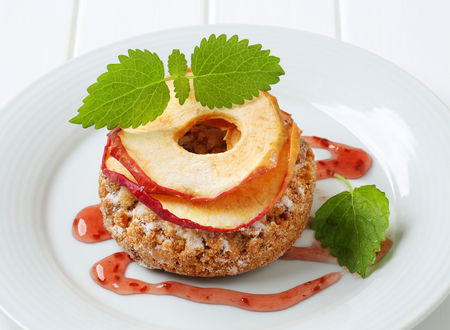 apple crumble: Apple crumble cookie topped with apple chips Stock Photo