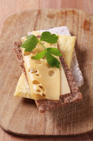 crispbread: Variety of crispbread and a slice of Swiss cheese