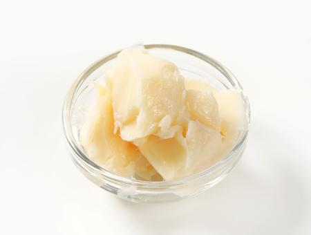 lard: Pork lard in glass bowl