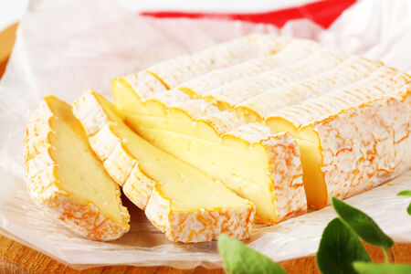 munster: French soft cheese made mainly from milk from the Vosges Stock Photo